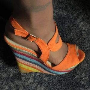 Orange wedge heels